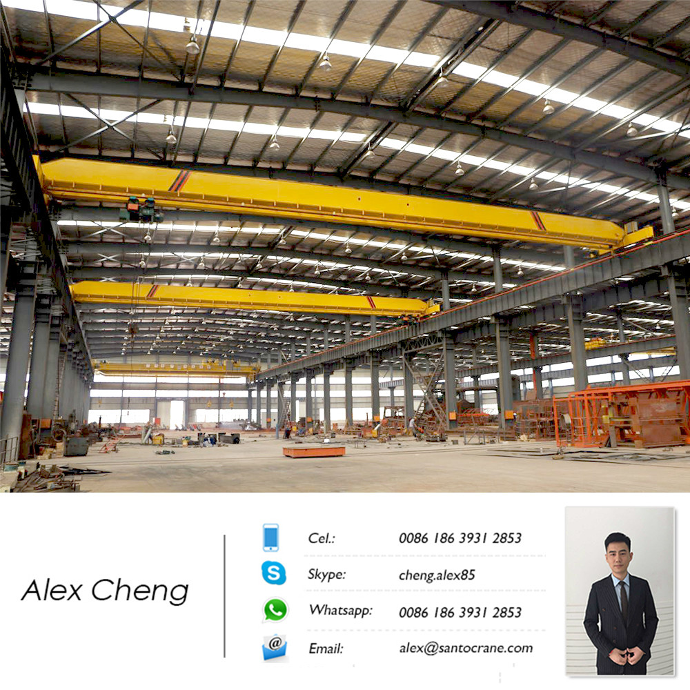 Durable & Strong Cargo Lifting Monorail Workshop Ceiling 20 ton Electric Hoist Single Girder Overhead Travelling EOT Crane OHC