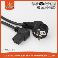 10a 16a 250v european power cord with iec plug.European 90 degree power cord plug.3 pin female male power cord connector