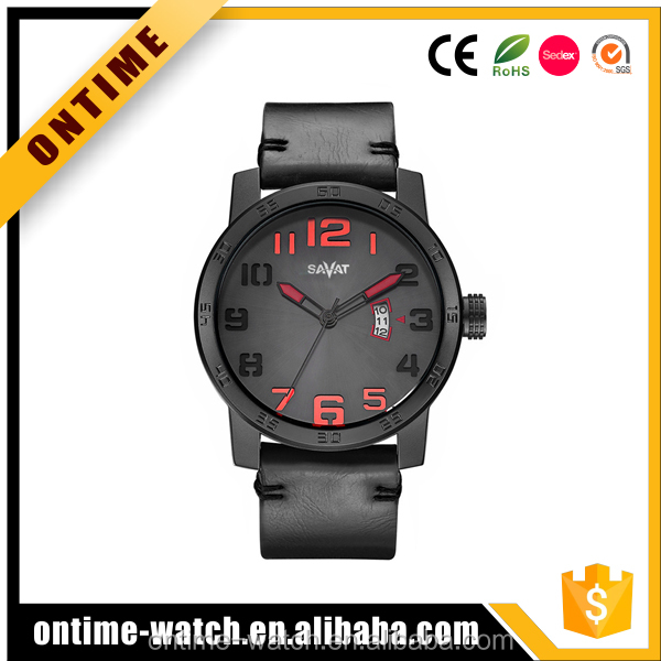 Men's Wrist watch Alloy case Leather Strap Male fashion Sports Watch