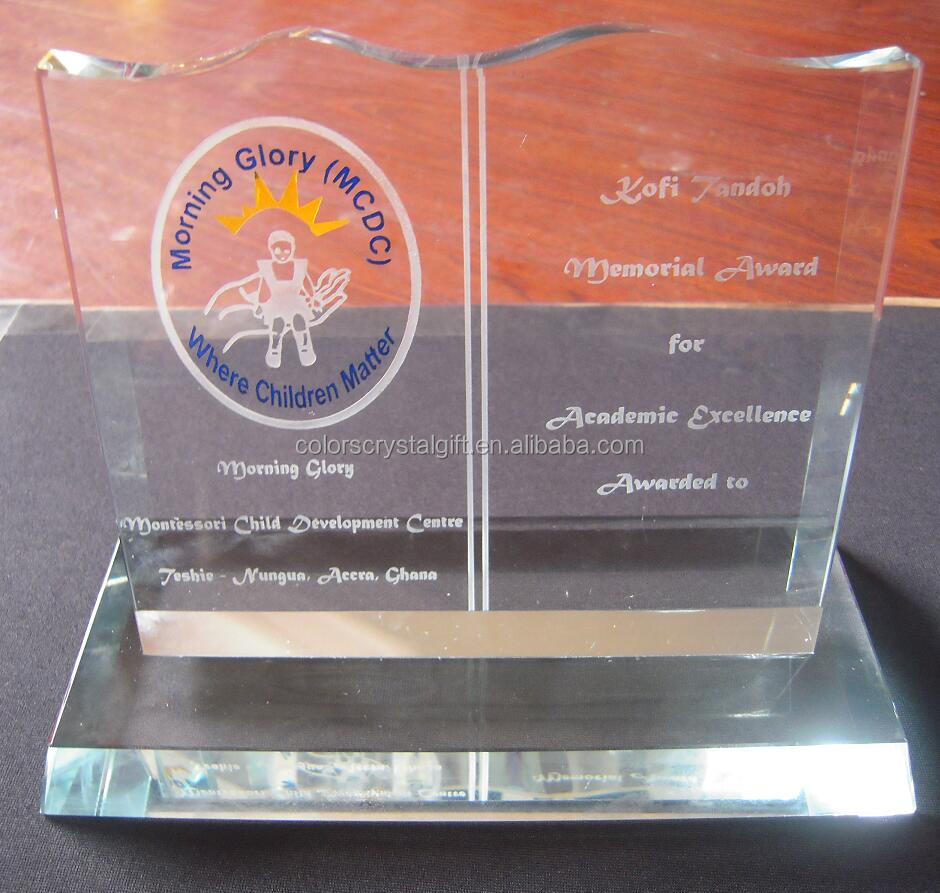Customized Etched Crystal Book Trophy With Colorful Logo For Teachers Gifts