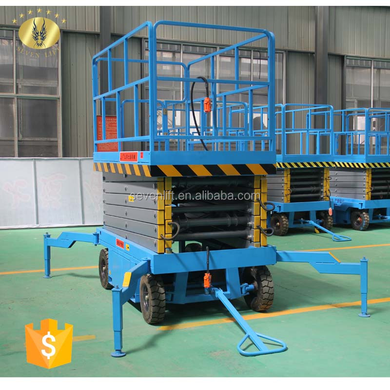 7LSJY Shandong SevenLift 8m propelling scissor manual motorcycle aerial electric working man lift