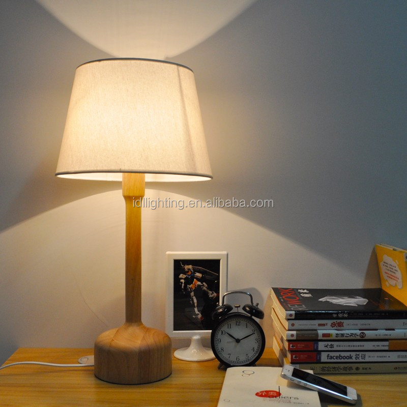 handmade solid wood base table lamp drum shade wooden table lamp