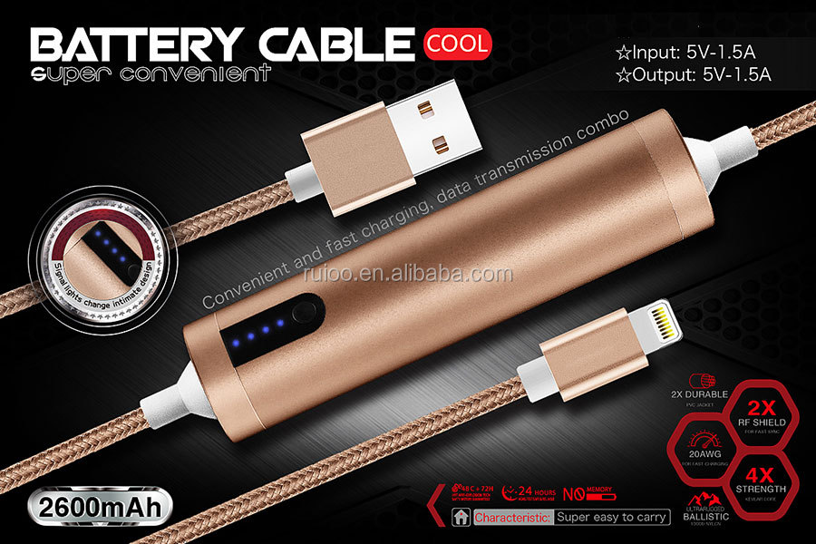 Fast charging data cable with emergency chargers 2600mah power usb data sync charge cable for i phone 5 5S 5C 6 6S 7 plus