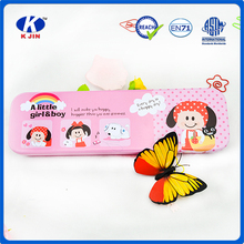 wholesale cheap tin pencil case for kids with pink color