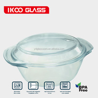 Microwave oven cookware heat resistant glass casserole 1.5L