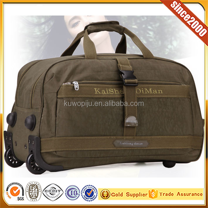 army green Lightweight Rolling Wheeled Large Bag Travel/Sport Duffel Bag
