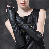 classic summer genuine leather women long fingerless gloves
