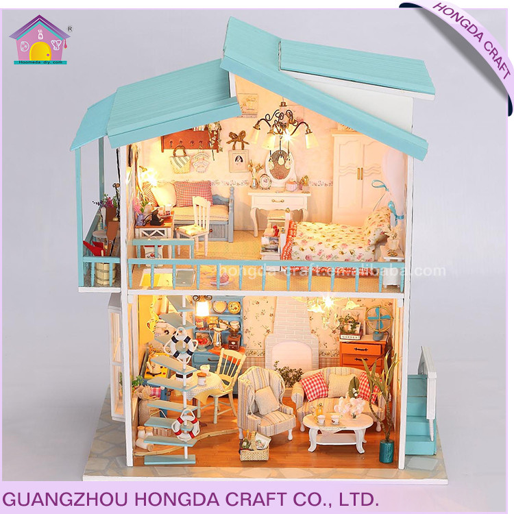 Hottest cheap with light and furniture handmade miniature doll house kids toys