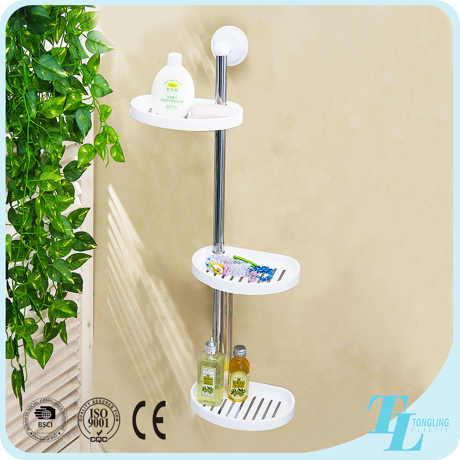 Popular wall mounted triple tier plastic adhesive bathroom pole shelf