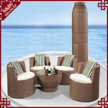 S&D bullet shape furniture outdoor rattan table chair coffee table chairs