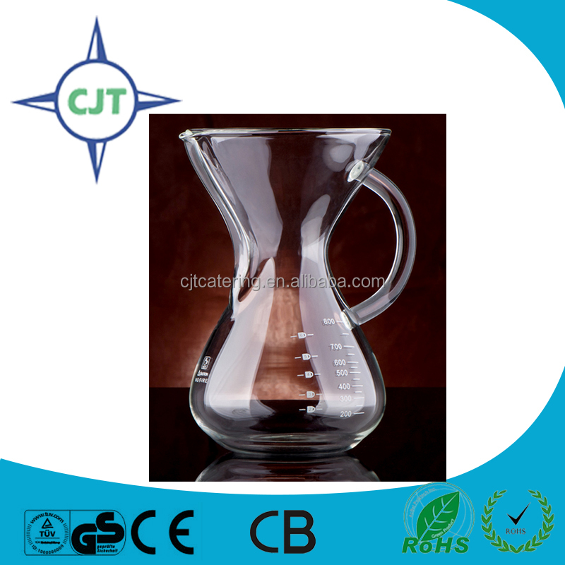 6 cups Hand Drip glass carafe pour over coffee maker for Perfect Pour Over Coffee with Permanent Stainless Steel Filter