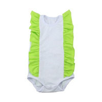 95% cotton white baby romper kids clothing baby summer onesie with lime ruffle