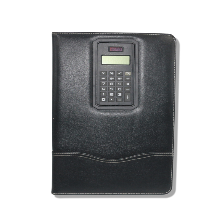 Black Pu Hard Cover File Folder With Rotatable Calculator A4 Size Notepad Folder