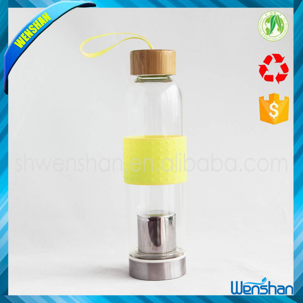 single wall glass bottles manufacturer selling glass tea infuser water bottle with bamboo lid