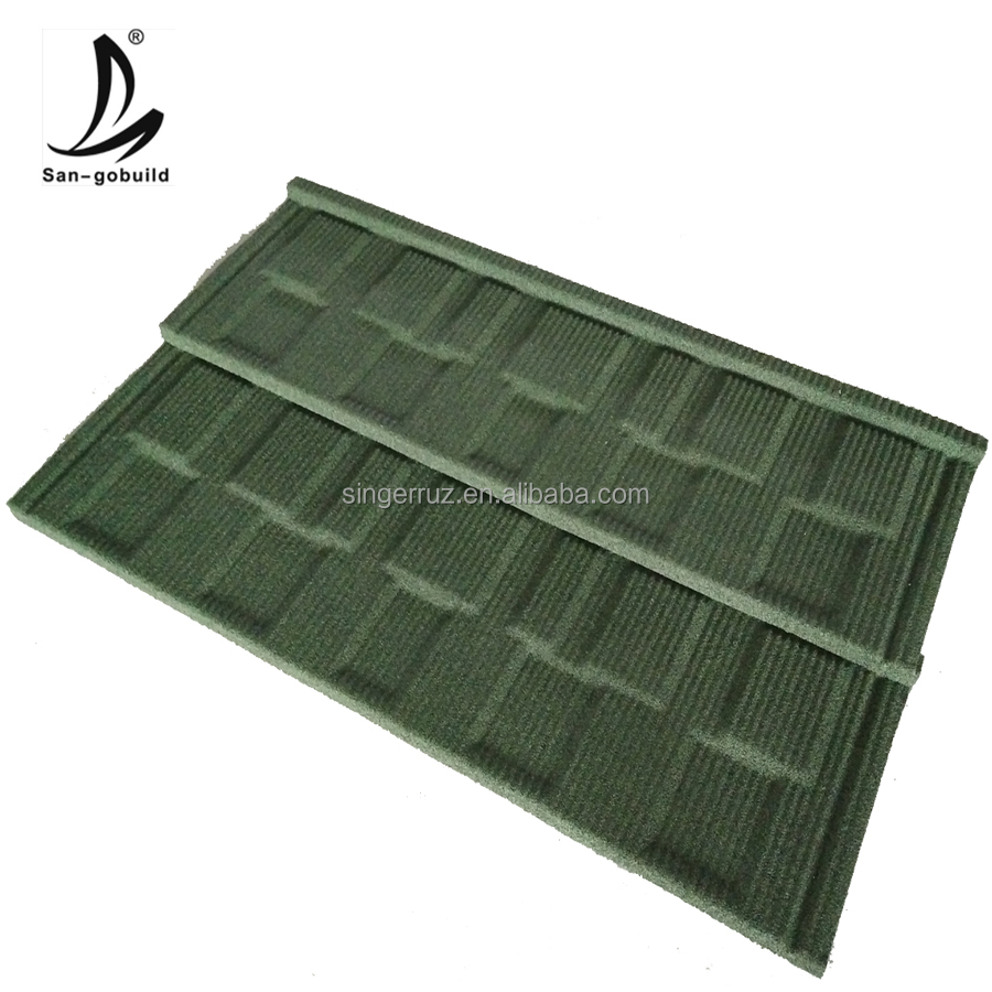 Color durable quality roofing materials stone granules coated steel oofing sheet materials sheet price stone coated tile