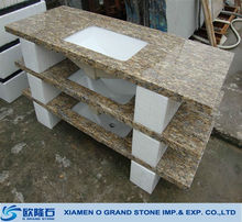 High quality granite one piece bathroom molded sink and countertop