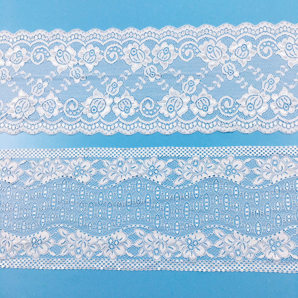 Lace Suppliers Free Samples White Alencon Floral Luxury Silver Broad Border Lace Trim For Lingerie