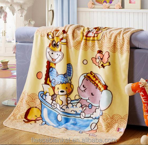 Very cute cartoon 100%Polyester China supplier flannel baby blanket