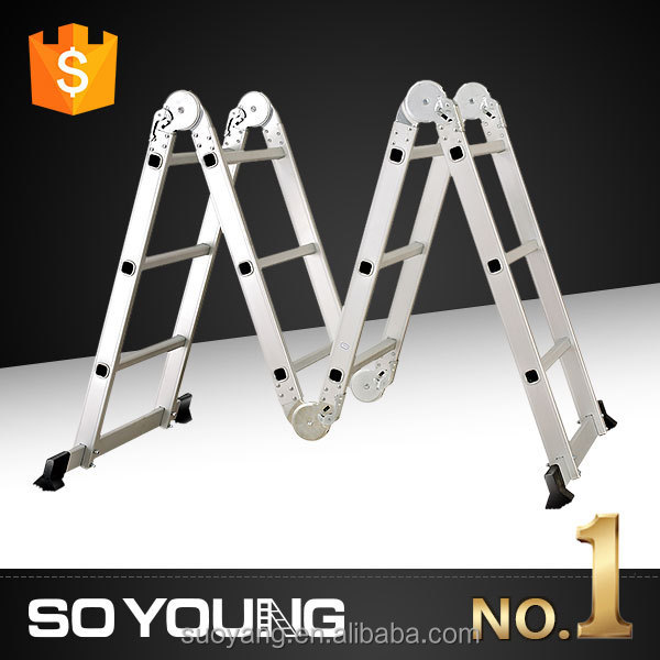 Silver anodized color multi-purpose folding aluminum ladder for house hold use