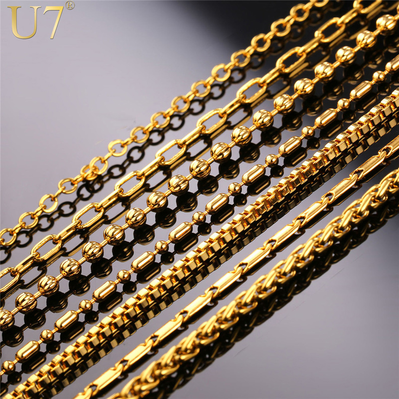 U7 New Fashion Necklace Chain Men Women Jewelry 18K Real Gold /Platinum Plated Stainless Steel 14 Options Chains Wholesale