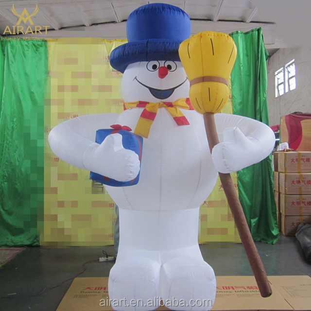 Take a broom Outdoor decoration Inflatable snowman