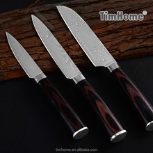 Damascus stainless steel fruit knife set pakka wood handle for chef kitchen using