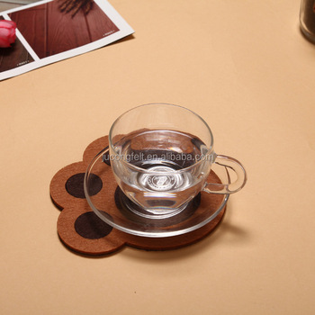 pressed cup felt coaster for home use or coffee shop made in China