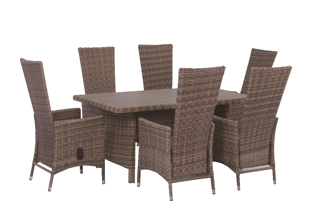 7pcs Aluminium and rattan table and air cylinder chair set