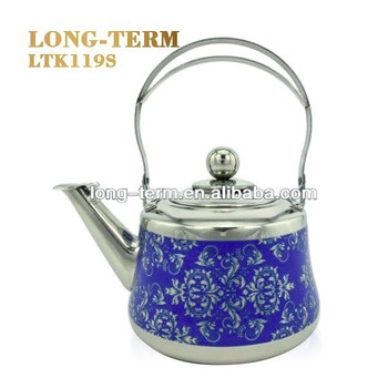LTK119S Stainless Steel Tea Pot With Patterned Paper Coated