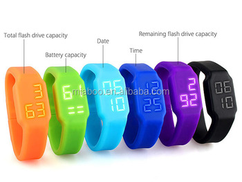 Colorful promotion usb watch, silicone wristband usb watch, hot waterproof usb pen drive watch