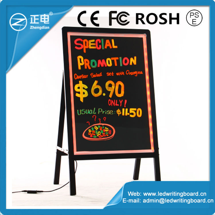 2015 China Supplier LED Acrylic Sign Aluminum Alloy Frame Sandwich Sign Board 90 Flashing Modes Pizza Neon Sign