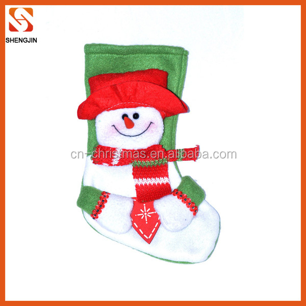 Cheap promotional felt christmas stocking holders with 3d doll