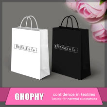 high quality different types black shopping paper bag for clothing