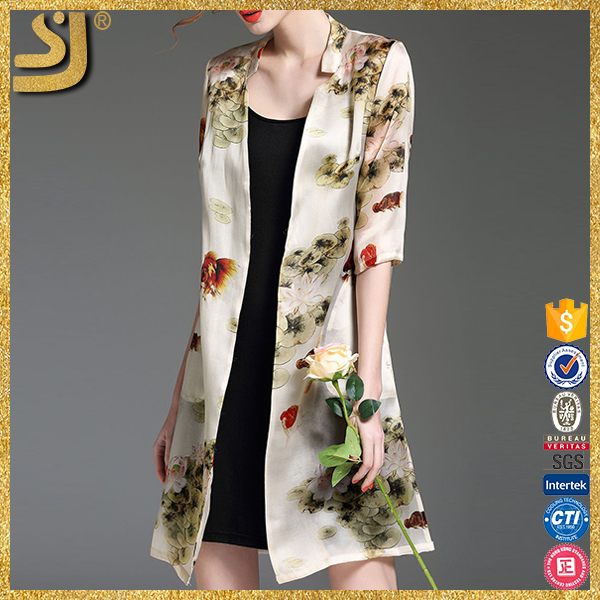 OEM Vintage floral silk printed fashion ladies summer kimono chiffon cardigan