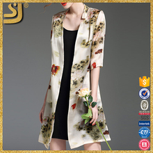 OEM Vintage floral silk printed fashion ladies summer kimono cardigan