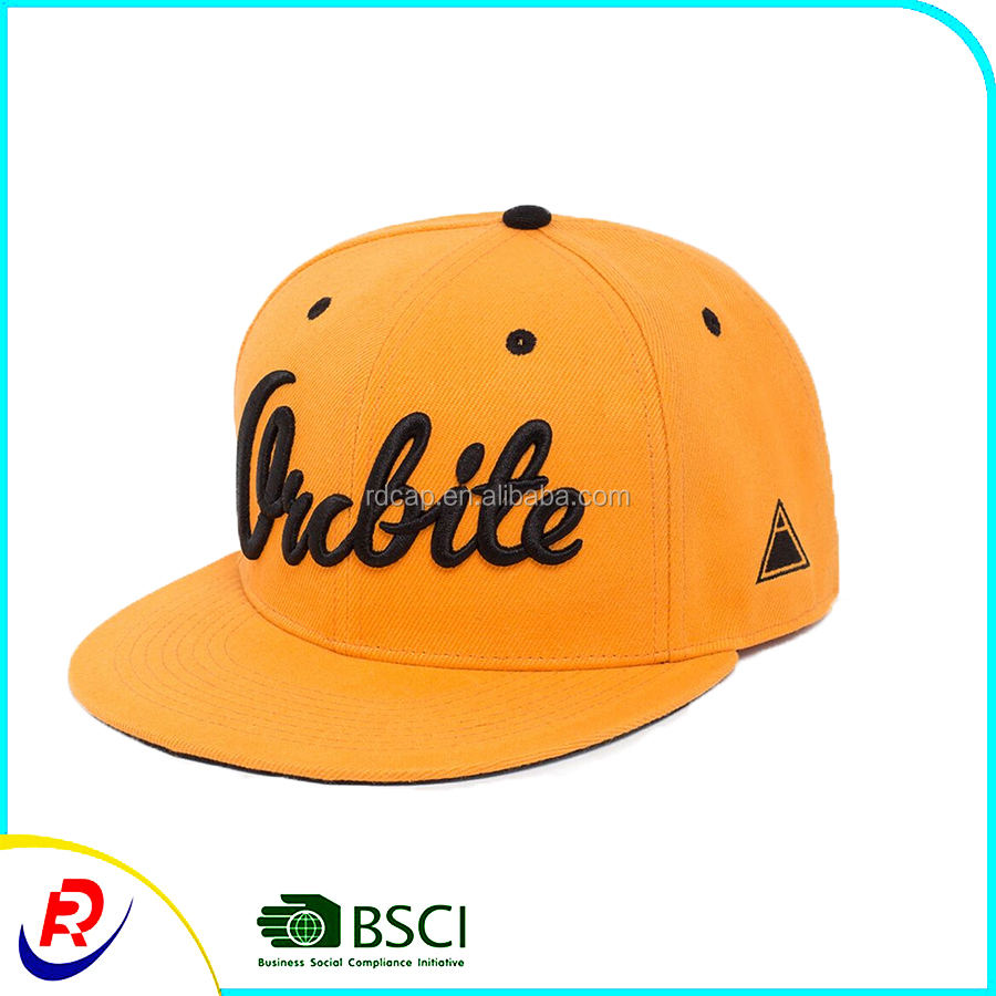 Customized brushed cotton baseball caps and hats ladies' hat hip hot promotion logo with 3d embroidery flat brim sport orange