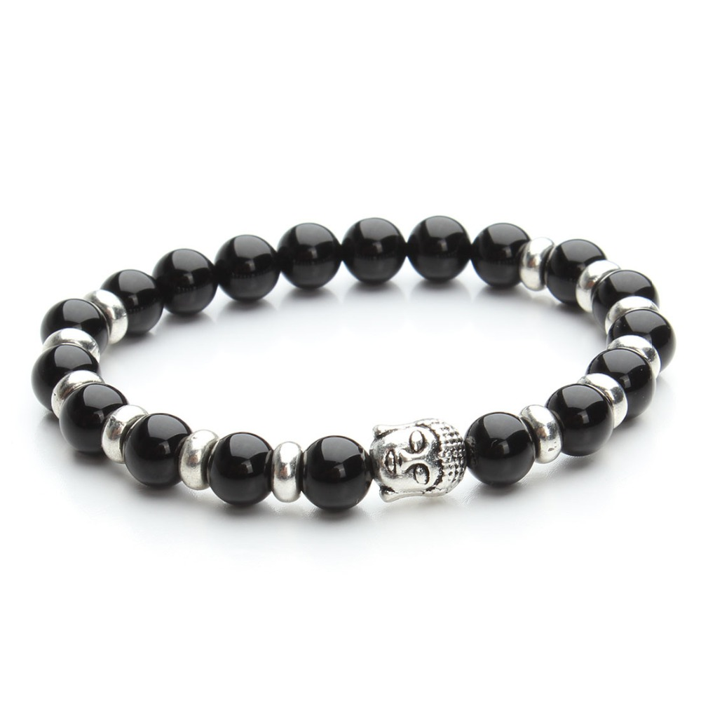 2016 Top Selling Buddha Mens Bracelet Natural Gmestone Black Agate Beads Unisex Bracelet