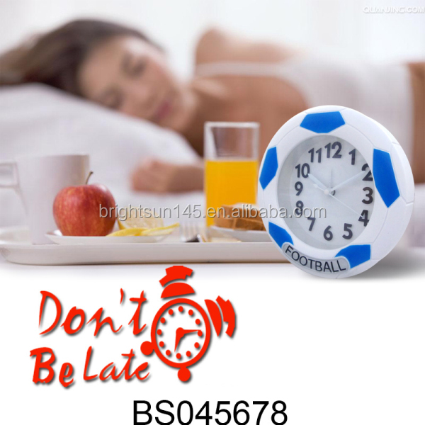 Promotional Gifts ABS Football Shape Alarm Desk Table Clock For Fans