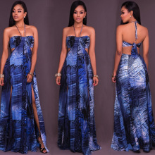 F50204A 2017 hot new products fashion women sexy sleeveless halter strapless backless slit long beach printing dress for ladies