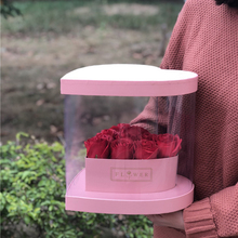 Wholesale factory direct sale heart shape PET rose flowers display boxes clear plastic flower box