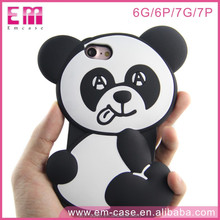 OEM Customized Panda Design Cute Fashional Animal 3D Silicone Phone Case for iPhone 7