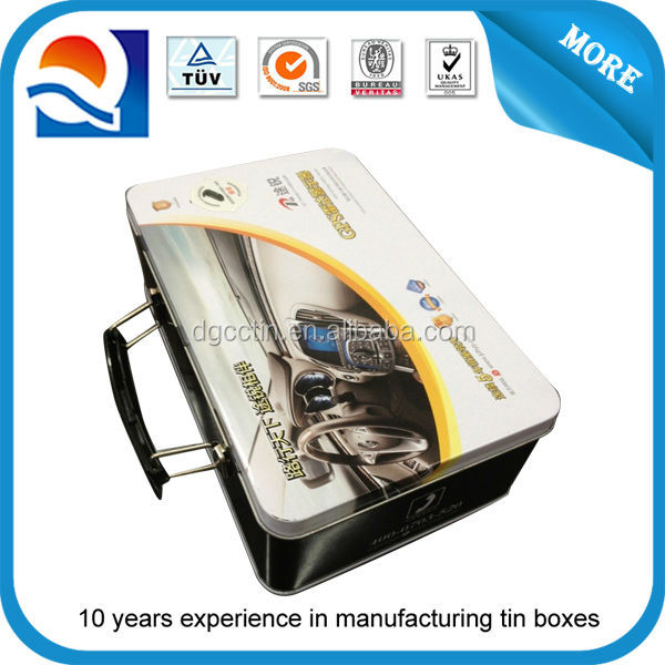 high quality printing customized size metal tin suitcase