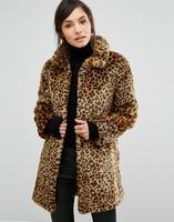 Animal print fur coat long sleeve winter leopard faux fur coat for ladies