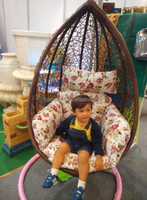 2016 new design one seat baby swing chair with cusions rattan material chair