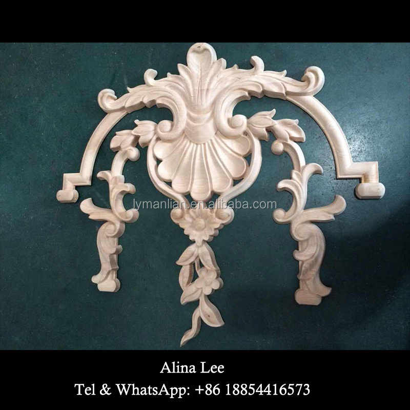 Decorative wood door appliques onlays