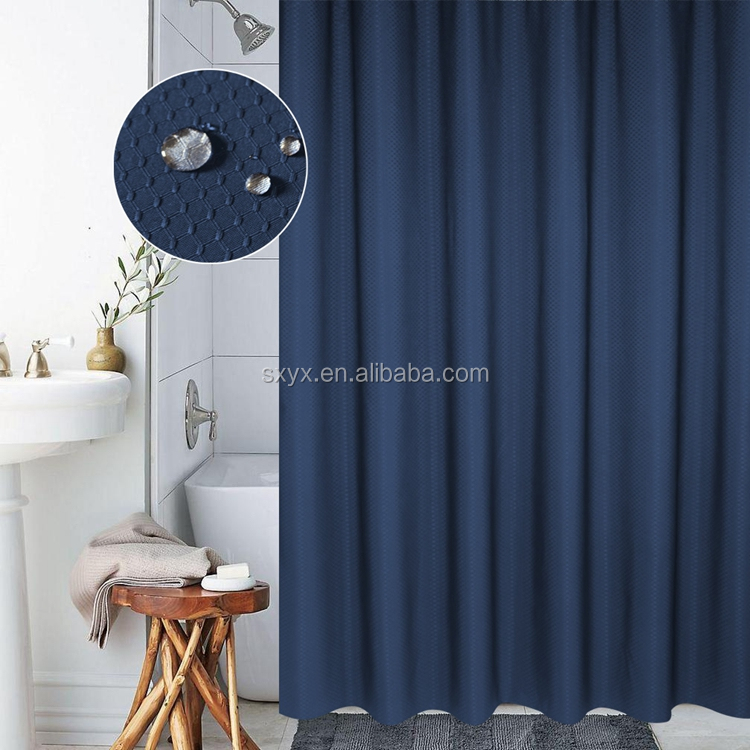 Quality Waffle Shower Curtain Mildew Resistant and Waterproof Waffle Fabric with Rust Proof Metal Grommets 72x72 inch Navy Blue