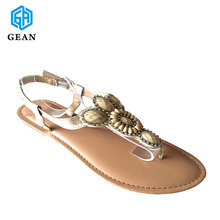 New Design Gem Stones Ladies Decorations Handmade PU Leather Materials Womans Flat Sandals