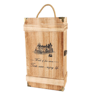 Wine Box 2 Bottles Pine Wood Wine Storage Box With String Handle Portable Wine Box