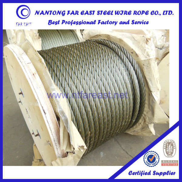 China Alibaba supplier Construction Application 6x12+FC bright/galvanized Steel wire rope/cable