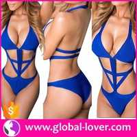 2016 low moq womens high cut one piece swimsuit with bowknot